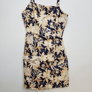 Forever 21 Small Woven Navy Cream floral Dress